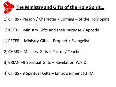 1)CHRIS - Person / Character / Coming – of the Holy Spirit 1)KEITH – Ministry Gifts and their purpose / Apostle 1)PETER – Ministry Gifts – Prophet / Evangelist.