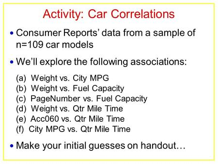 Activity: Car Correlations Consumer Reports' data from a sample of n=109 car models We'll explore the following associations: (a) Weight vs. City MPG (b)