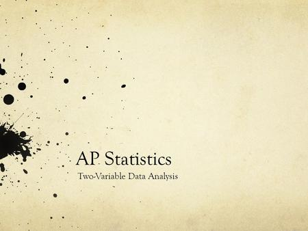 AP Statistics Two-Variable Data Analysis. Key Ideas Scatterplots Lines of Best Fit The Correlation Coefficient Least Squares Regression Line Coefficient.