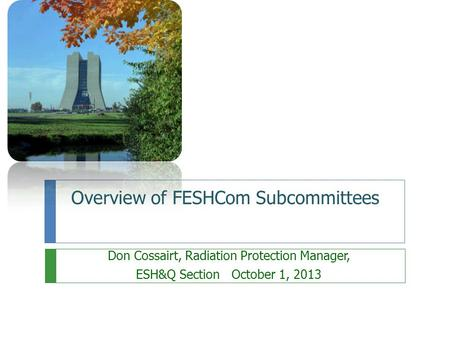 Overview of FESHCom Subcommittees Don Cossairt, Radiation Protection Manager, ESH&Q Section October 1, 2013.
