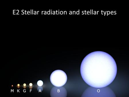 E2 Stellar radiation and stellar types. Fusion Life-cycle of a star.