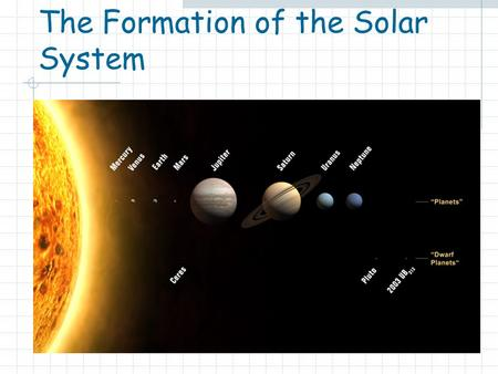 The Formation of the Solar System. The Nebular Hypothesis The Solar System formed ~ 4.6 billion years ago Evidence from:  meteorites (4.5-4.6 billion.