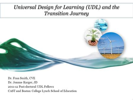 Universal Design for Learning (UDL) and the Transition Journey Dr. Fran Smith, CVE Dr. Joanne Karger, JD 2011-12 Post-doctoral UDL Fellows CAST and Boston.