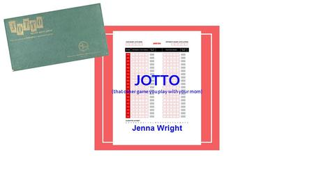 JOTTO (that other game you play with your mom) Jenna Wright.