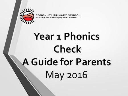 Year 1 Phonics Check A Guide for Parents May 2016.