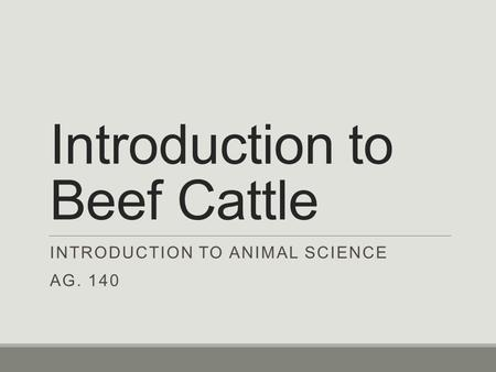 Introduction to Beef Cattle INTRODUCTION TO ANIMAL SCIENCE AG. 140.