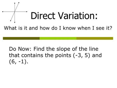 Direct Variation: What is it and how do I know when I see it? Do Now: Find the slope of the line that contains the points (-3, 5) and (6, -1).