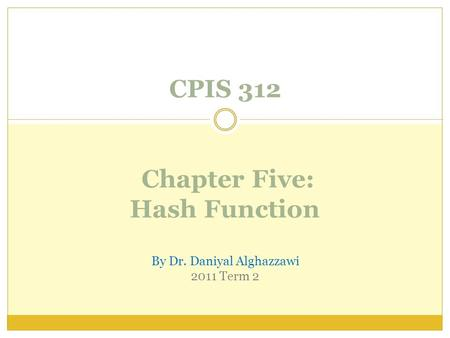 CPIS 312 Chapter Five: Hash Function By Dr. Daniyal Alghazzawi 2011 Term 2.