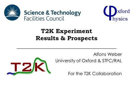 T2K Experiment Results & Prospects Alfons Weber University of Oxford & STFC/RAL For the T2K Collaboration.