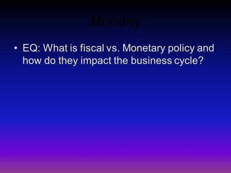 The effects of monetary policies on the economic cycle