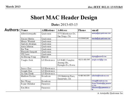 Doc.:IEEE 802.11-13/0318r0 March 2013 A. Asterjadhi, Qualcomm Inc. Short MAC Header Design Date: 2013-03-15 Authors: