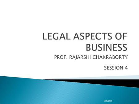 PROF. RAJARSHI CHAKRABORTY SESSION 4 6/25/2016.  NEGOTIABLE INSTRUMENTS ACT 1. Introduction 2. Definition and features 3. Parties to negotiable instruments.
