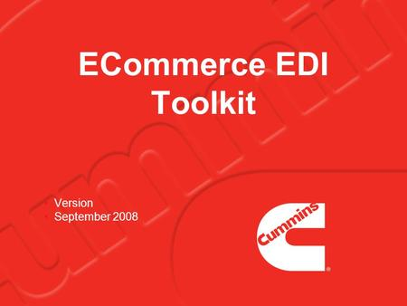 ECommerce EDI Toolkit Version September 2008. 2 What is EDI? EDI stands for Electronic Data Interchange EDI is the electronic exchange of business data.