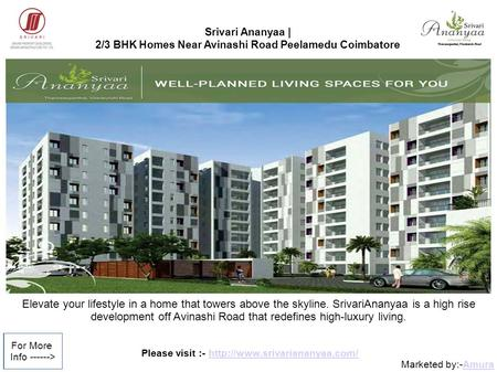 Please visit :-  Marketed by:-AmuraAmura For More Info ------> Srivari Ananyaa | 2/3 BHK Homes.