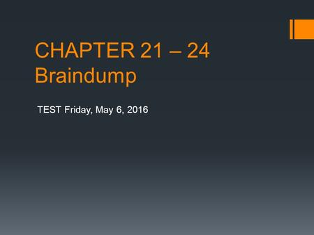 CHAPTER 21 – 24 Braindump TEST Friday, May 6, 2016.