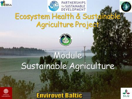 Definitions: the ecosystem approach; sustainable agriculture Definitions: the ecosystem approach; sustainable agriculture Problems or non-sustainable.