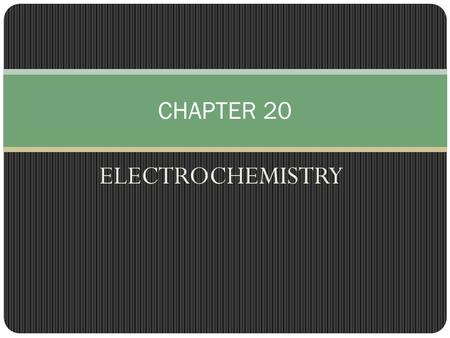 ELECTROCHEMISTRY CHAPTER 20. 20.1 These types of reactions involving the transfer of electrons also have changes in energy, but instead of heat it is.