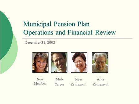 New Member Mid-CareerNearRetirementAfterRetirement Municipal Pension Plan Operations and Financial Review December 31, 2002.
