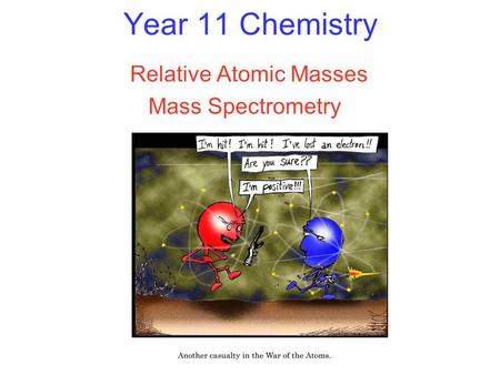 Year 11 Chemistry Relative Atomic Masses Mass Spectrometry.