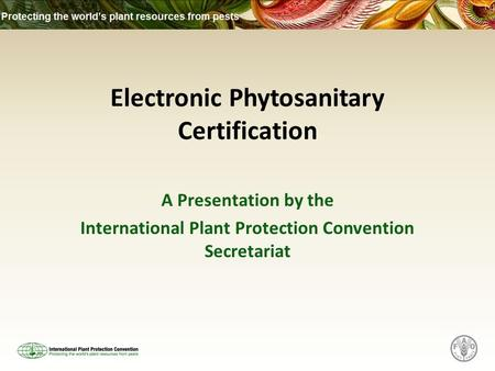 Electronic Phytosanitary Certification A Presentation by the International Plant Protection Convention Secretariat.