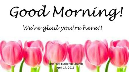 Good Morning! Rose Free Lutheran Church April 17, 2016 We're glad you're here!!