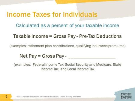 Income Taxes for Individuals Calculated as a percent of your taxable income Taxable Income = Gross Pay - Pre-Tax Deductions (examples: retirement plan.