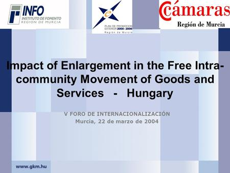 Impact of Enlargement in the Free Intra- community Movement of Goods and Services - Hungary V FORO DE INTERNACIONALIZACIÓN Murcia, 22 de marzo de 2004.
