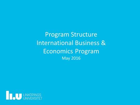 Program Structure International Business & Economics Program May 2016.