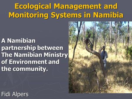 Ecological Management and Monitoring Systems in Namibia A Namibian partnership between The Namibian Ministry of Environment and the community. Fidi Alpers.