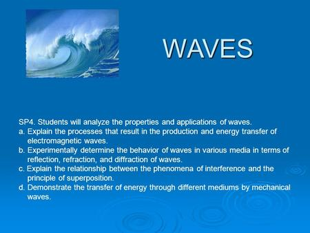 WAVES SP4. Students will analyze the properties and applications of waves. a. Explain the processes that result in the production and energy transfer.