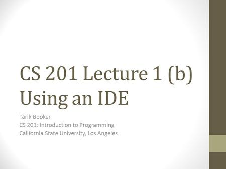 CS 201 Lecture 1 (b) Using an IDE Tarik Booker CS 201: Introduction to Programming California State University, Los Angeles.