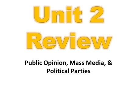 Public Opinion, Mass Media, & Political Parties. Opinion polls- often inaccurate but important to campaigns Scientific polls- more accurate Scientific.