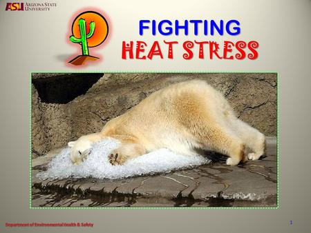 "FIGHTING HEAT STRESS 1. WHAT IS ""HEAT STRESS"" HEAT EXHAUSTION HEAT STROKE 2."