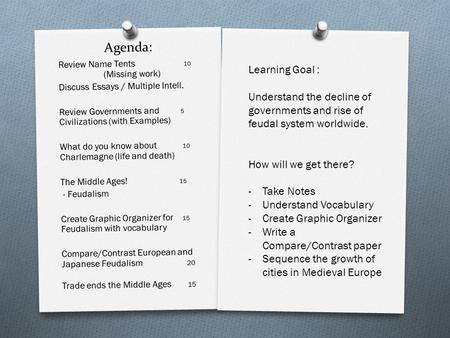Agenda: Review Name Tents 10 (Missing work) Discuss Essays / Multiple Intell. Review Governments and 5 Civilizations (with Examples) What do you know about.