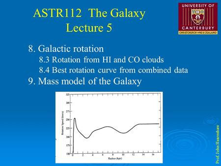 ASTR112 The Galaxy Lecture 5 Prof. John Hearnshaw 8. Galactic rotation 8.3 Rotation from HI and CO clouds 8.4 Best rotation curve from combined data 9.