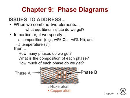 Chapter 9 - 1 ISSUES TO ADDRESS... When we combine two elements... what equilibrium state do we get? In particular, if we specify... --a composition (e.g.,