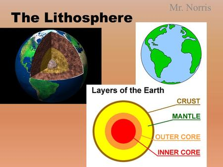 The Lithosphere Mr. Norris. Day 1 Objective: Objective: – I can explain how the Earth is structured – I can explain how the material of earth is changed.