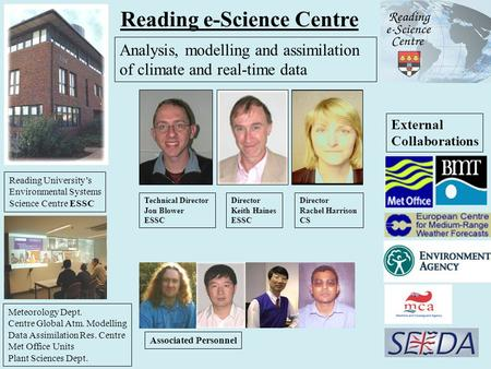 Reading e-Science Centre Technical Director Jon Blower ESSC Director Rachel Harrison CS Director Keith Haines ESSC Associated Personnel External Collaborations.
