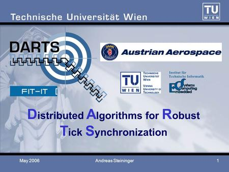 May 2006Andreas Steininger1 D istributed A lgorithms for R obust T ick S ynchronization.