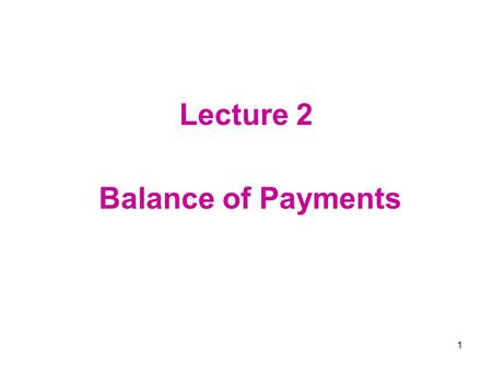 1 Lecture 2 Balance of Payments. 2 Chapter 13 Balance of Payments 13.1 Introduction 13.2 Balance-of-Payments Accounting Principles 13.3 The International.