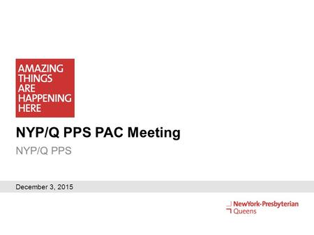 NYP/Q PPS PAC Meeting NYP/Q PPS December 3, 2015.