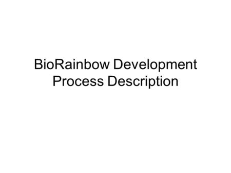 BioRainbow Development Process Description. Development Process Overview We use combination of MSF development technology (www.microsoft.com/msf), Extreme.