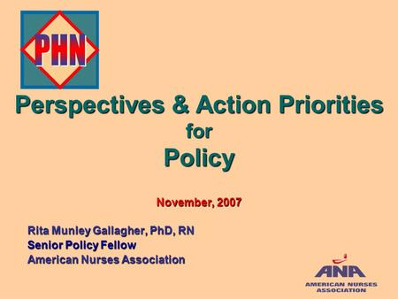 Perspectives & Action Priorities for Policy November, 2007 Rita Munley Gallagher, PhD, RN Senior Policy Fellow American Nurses Association.