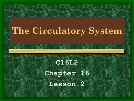The Circulatory System C16L2 Chapter 16 Lesson 2.