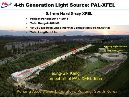 1 0.1-nm Hard X-ray XFEL  Project Period: 2011 ~ 2015  Total Budget: 400 M$  10-GeV Electron Linac (Normal Conducting S-band, 60 Hz)  Total Length: