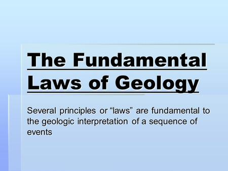 Fundamental Laws