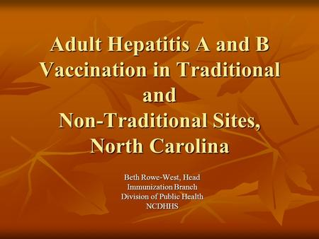 Adult Hepatitis A and B Vaccination in Traditional and Non-Traditional Sites, North Carolina Beth Rowe-West, Head Immunization Branch Division of Public.