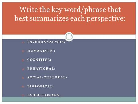 1. PSYCHOANALYSIS: 2. HUMANISTIC: 3. COGNITIVE: 4. BEHAVIORAL: 5. SOCIAL-CULTURAL: 6. BIOLOGICAL: 7. EVOLUTIONARY: Write the key word/phrase that best.