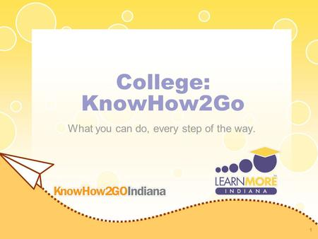 College: KnowHow2Go What you can do, every step of the way. 1.
