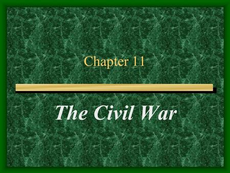 Chapter 11 The Civil War. Fort Sumter Situated in the middle of the Charleston Port It was Union occupied Jefferson Davis sent telegram to Lincoln Lincoln.